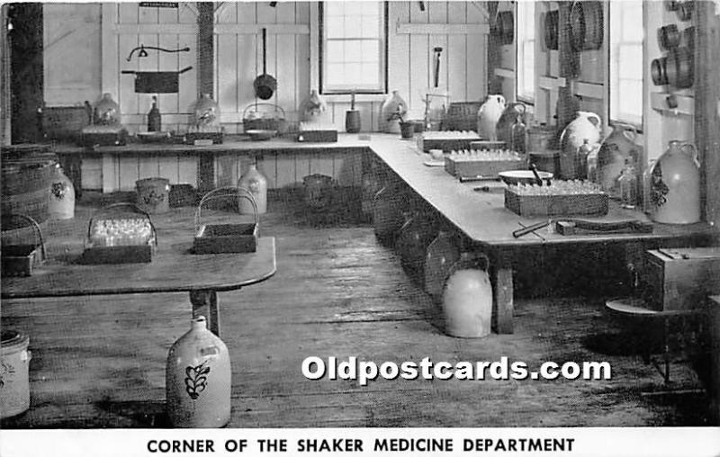 Old Vintage Shaker Post Card Corner of the  Medicine Department,  Museum Old ...
