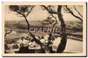 Old Postcard Scout Jamboree Scouting Girl Scouts excursion Bridge D & # 39Avi...
