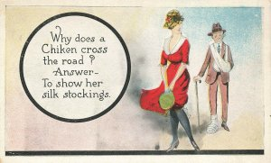 Why does a Chiken Cross The Road? Answer? To Show Her stockings Postcard