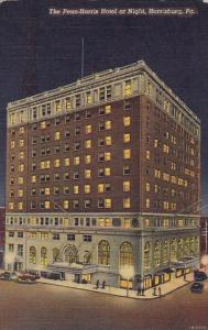 The Penn Harris Hotel At Night Harrisburg Pennsylvania 1945