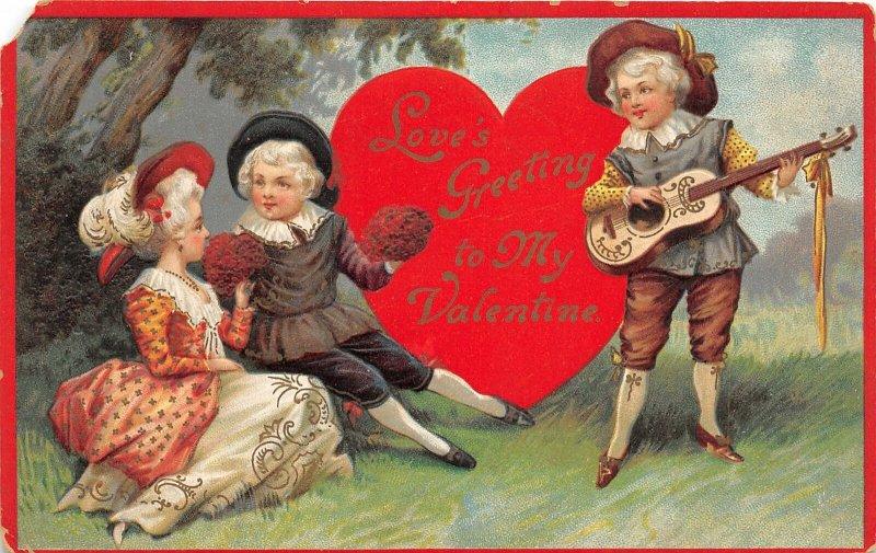 G47/ Valentine's Day Love Holiday Postcard c1910 Guitar Pretty Woman9
