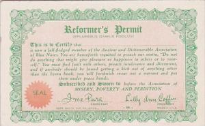Arcade Card Humour Reformer's Permit