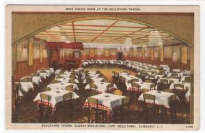 Main Dining Room Boulevard Tavern Elmhurst Long Island New York linen postcard
