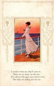 Beautiful Lady Waiting On Ship 1912