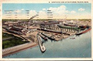 Ohio Toledo Birds Eye View Of Shipyard 1920