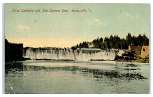 1908 Lake Lamoille and New Cement Dam, Morrisville, VT Postcard