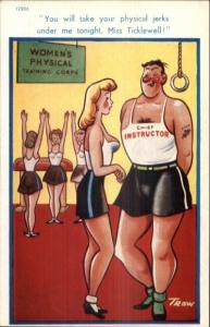 Large Breasted Woman & Gym Instructor - Sexual Innuendo Comic Postcard
