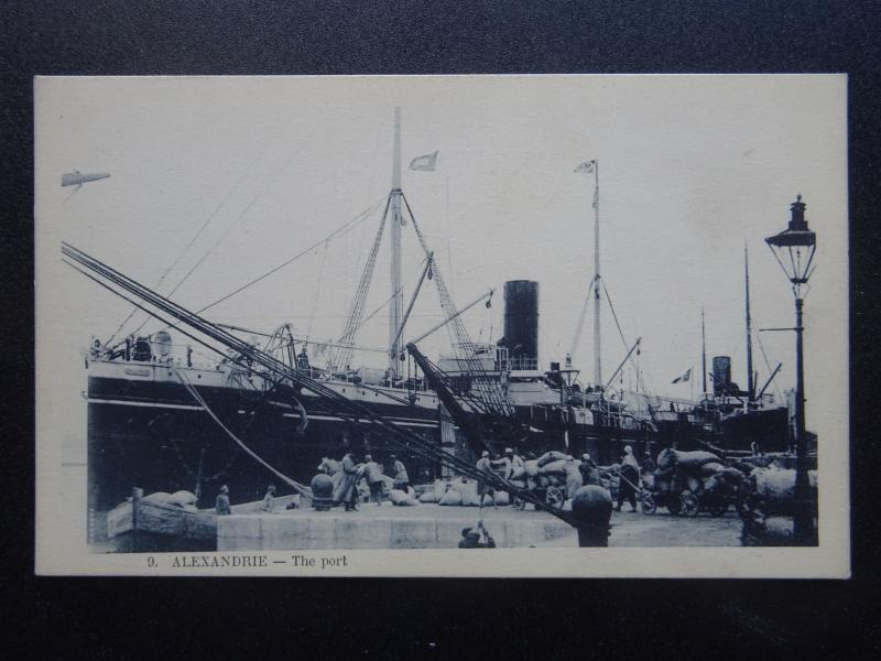 Egypt Shipping Cargo Ship S.S. EQUATOR at Alexandrie Port c1910 Postcard