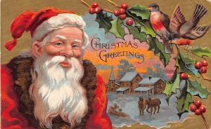 D70/ Santa Claus Merry Christmas Holiday Postcard 1908 Denver Co Gold Birds 18