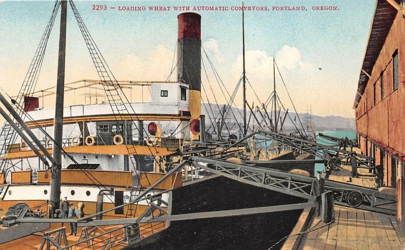Portland Oregon~Loading Wheat on Ship with Automatic Conveyors~c1910 Postcard