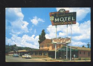FLAGSTAFF ARIZONA ROUTE 66 VANDEVIER MOTEL 1950's CARS ADVERTISING POSTCARD