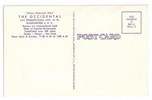 The Occidental Washington DC Restaurant Curteich Linen