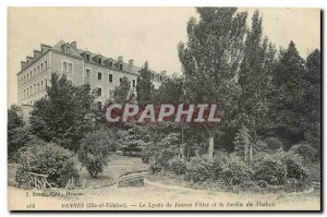 Old Postcard Rennes Ille et Vilaine Le Lycee for Girls and the Garden of Tabor