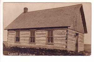 Real Photo, Log Schoolhouse, Lamont, Alberta - 1908 Message from Teacher...
