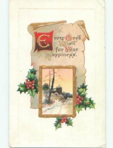 Unused Pre-Linen WINTER SCENE WITH HOLLY AND PARCHMENT ON POSTCARD J2788