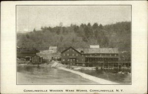 Conklingville NY Wooden Ware Works Factory c1910 Postcard