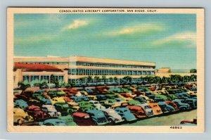 San Diego CA, Consolidated Aircraft Corporation, Linen California Postcard