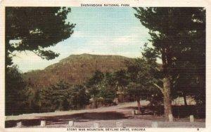 Stony Man Mountain, Skyline Drive, VA, 1949 Linen Vintage Postcard h1920