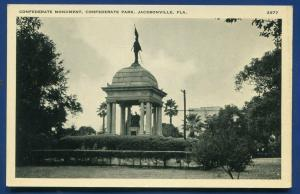 Jacksonville Florida fl Confederate Monument Statue old postcard #2