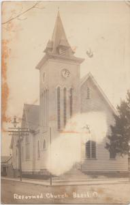 Ohio Real Photo RPPC Postcard 1914 BASIL Reformed Church Building