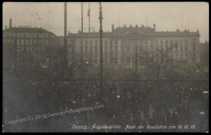 Germany 1918 Revolution RPPC Leipzig  Augustusplatz Demonstration 61418