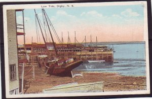 P1405 1924 used postcard low tide boat grounded pier digby nova scotia canada