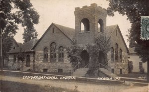 Real Photo Postcard Congregational Church in Angola, Indiana~109785