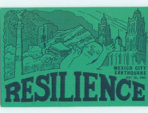 1985 EARTHQUAKE RESILIENCE SURVIVORS POSTCARD Mexico City Mexico H9483-12