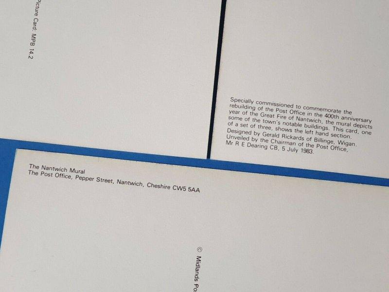 Set of 3 Art Postcards, Great Fire of Nantwich Mural, Notable Buildings BU3