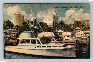 Miami FL-Florida, Deep Sea Fishing Boats Pier 5, Ocean, Linen c19-- Postcard