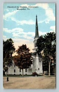 Montpelier VT-Vermont, Church Of The Messiah Unitarian Vintage Postcard