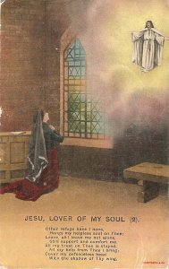 Lady praying. Jesu, lover of my soul (2) Vintage Bamforth Religious postcard