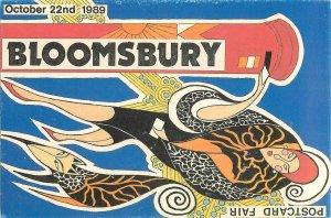 Postcard Bloomsbury postcard fair 1989 Woman in furcoat
