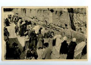 155667 JARUSALEM Jews Wailing Wall Vintage photo postcard