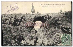 Old Postcard From Saint Nazaire At Croisic By Sea The Rock Stone Percee at lo...
