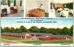Vicksburg, Mississippi Postcard MAGNOLIA MOTOR MOTEL Highway 61 Roadside Linen
