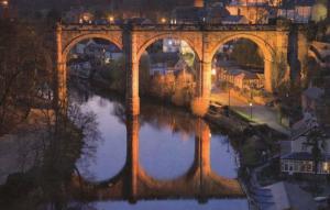 Knaresborough Reservoir Viaduct At Night Illuminations Yorkshire Postcard
