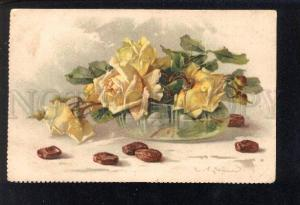 032869 Yellow ROSES in vase. By C. KLEIN vintage TSN PC