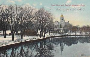 Park River and Capitol Building in Winter Hartford CT Connecticut - pm 1908 - DB