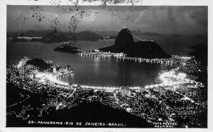 Rio de Janeiro Brazil~South America~Birdseye Night Lights~1962 Real Photo~RPPC