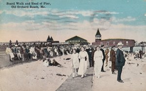 OLD ORCHARD BEACH, Maine, PU-1921; Board Walk And Head Of Pier