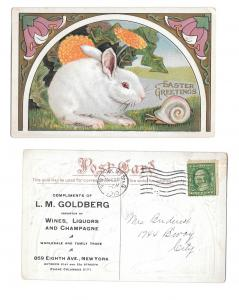 Easter Greetings Art Nouveau Advertising LM Goldberg Wines NY Embossed Postcard