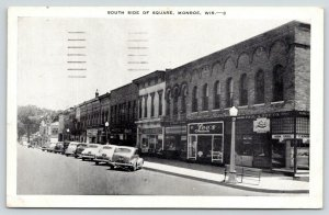 Monroe Wisconsin~South Side of Square~Cars Parked~Lee's~Paul A Ruf Co~1960