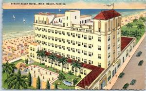 Miami, Florida Postcard STRATH HAVEN HOTEL Beach View Curteich Deckled Linen