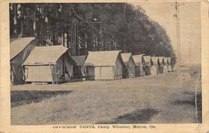 Macon Georgia~Camp Wheeler~Officers' Tents~WWI Military Branch Postmark~Postcard