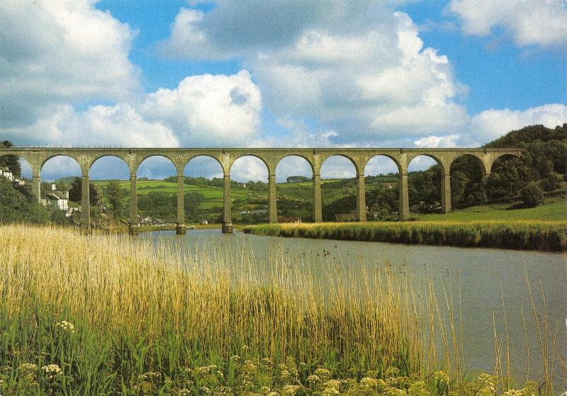 Cornwall Postcard, The Railway Viaduct across the River Tamar at Calstock S8
