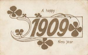 A Happy New Year 1909, PU-1908; Gold detail