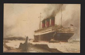 Cunard Line Ship RMS Berengaria - Leaving Port With Tugs