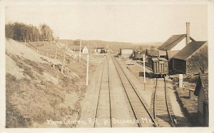 Belgrade ME Maine Central Railroad Buildings Box Cars Real Photo Postcard