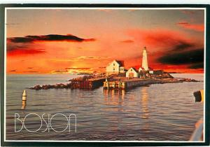 Boston Mass Sunset over Lighthouse Buoy Pier Dock Coast Pier  Postcard  # 8075